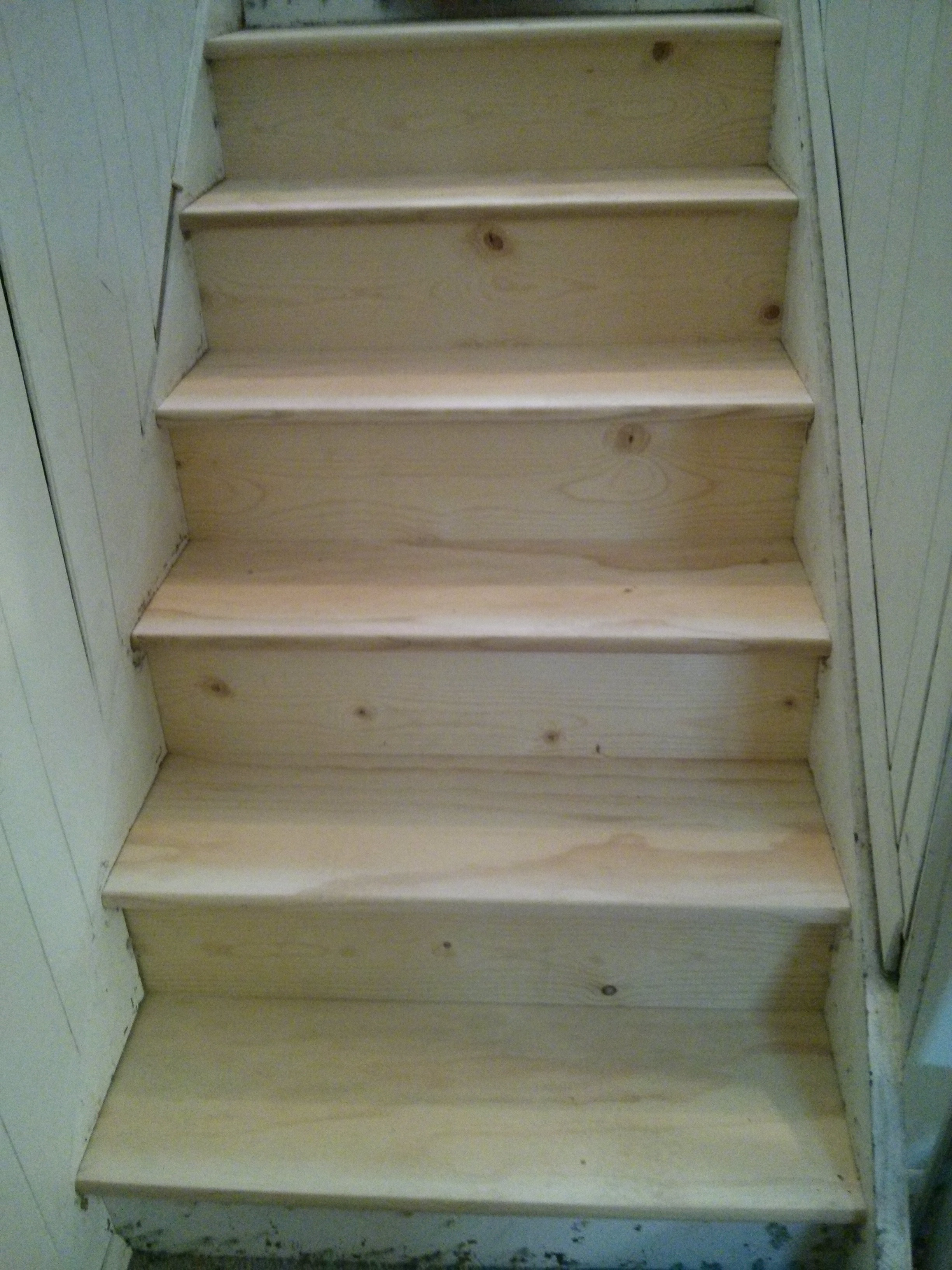 close up new stair treads