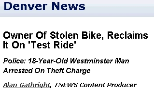Owner Of Stolen Bike, Reclaims It On 'Test Ride'
