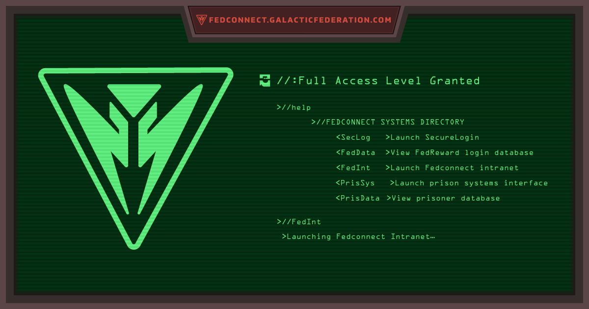 fedconnect.galacticfederation.com terminal screen